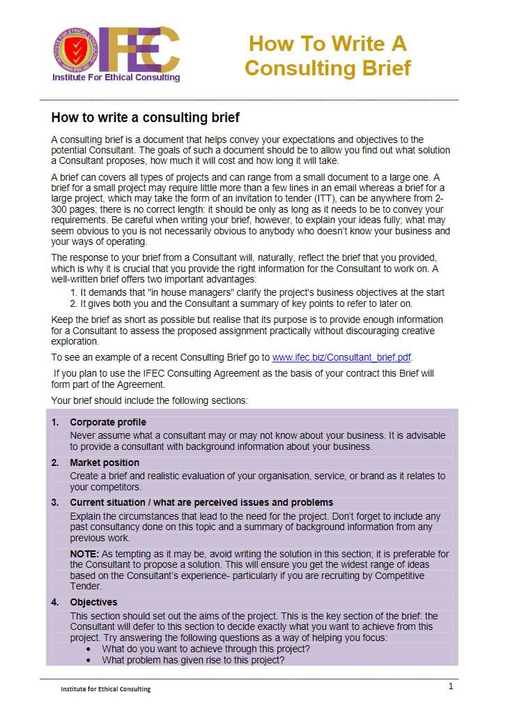 Consulting Brief Template