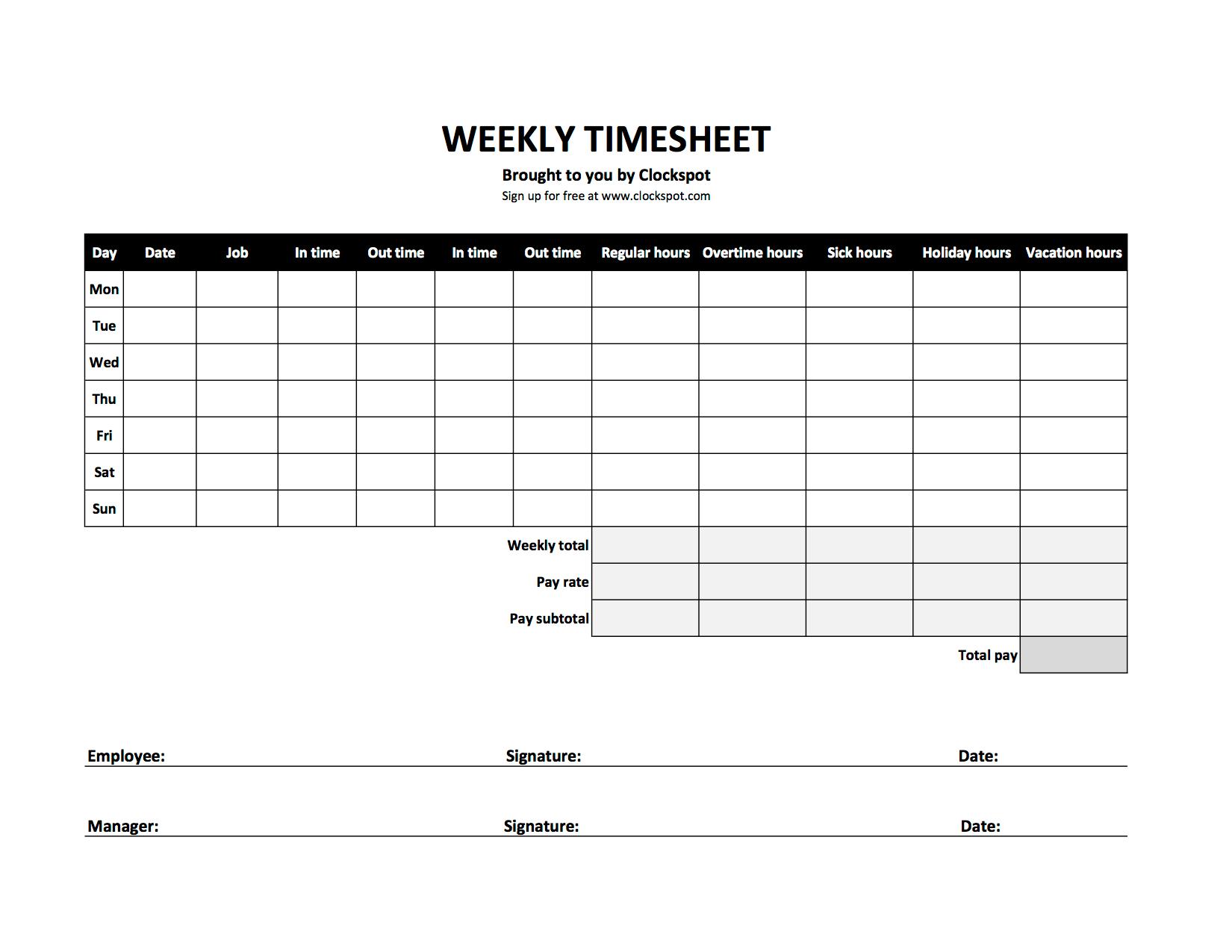 Excel Time Sheet Sample