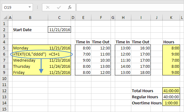 Excel Time Sheet Example
