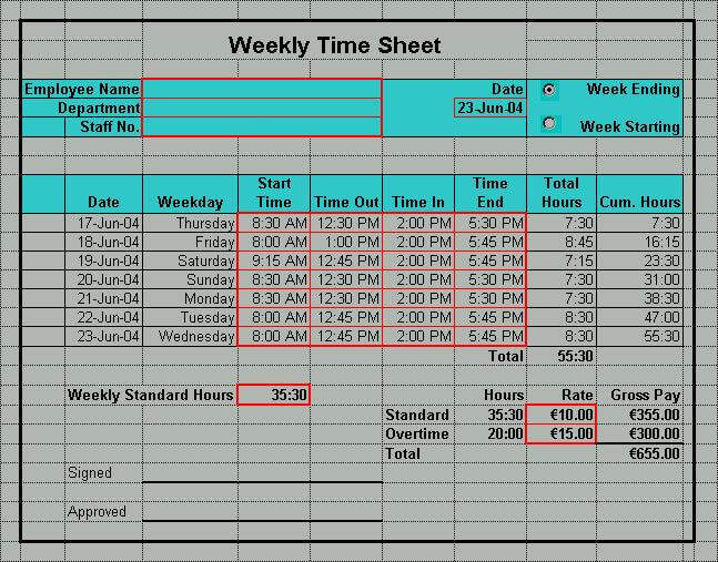 Excel Time Sheet PDF