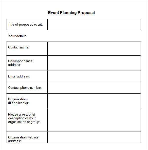 Event Brief Template Sample