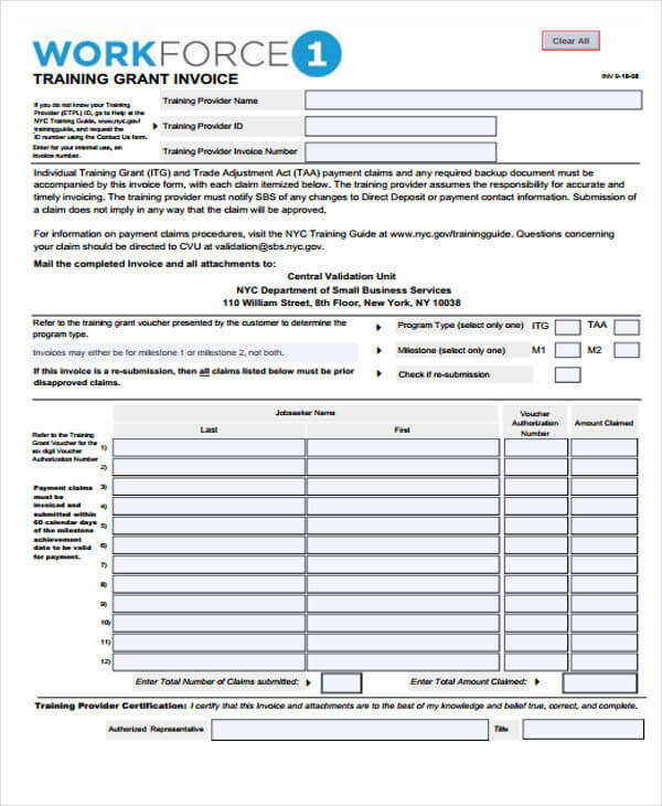 Training Invoice Template Sample
