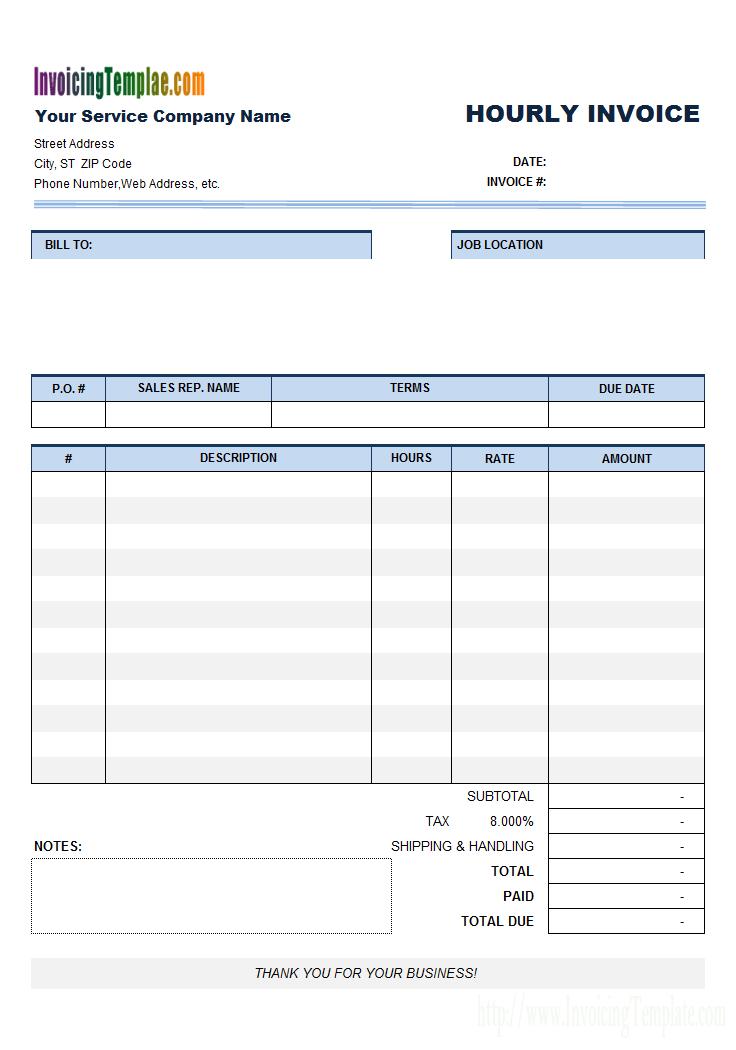 Free Hourly Invoice Template Hourly Invoice Template Google Docs Bonsai