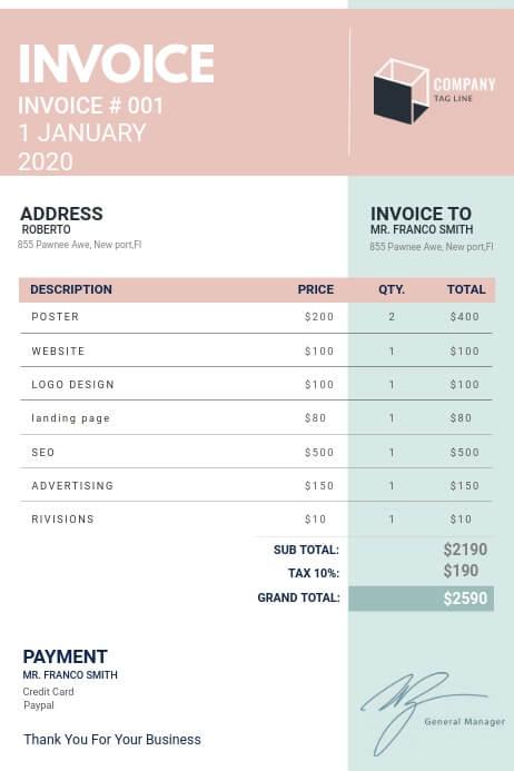 Digital Invoice Template Sample