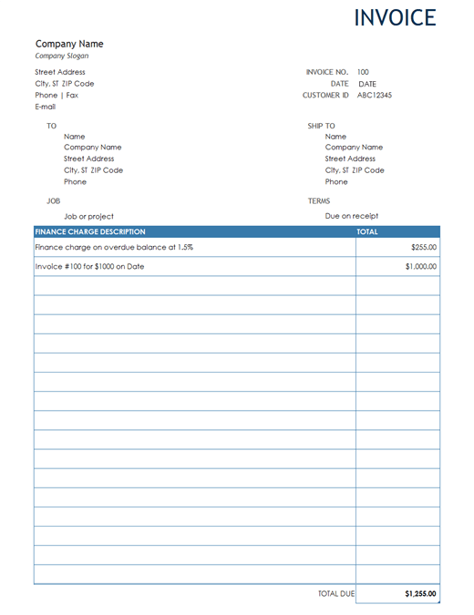 Monthly Invoice Template Sample