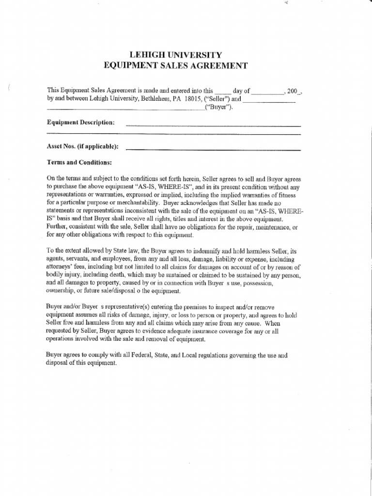 Equipment Sales Agreement Template