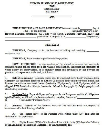 Equipment Sales Agreement Template Sample
