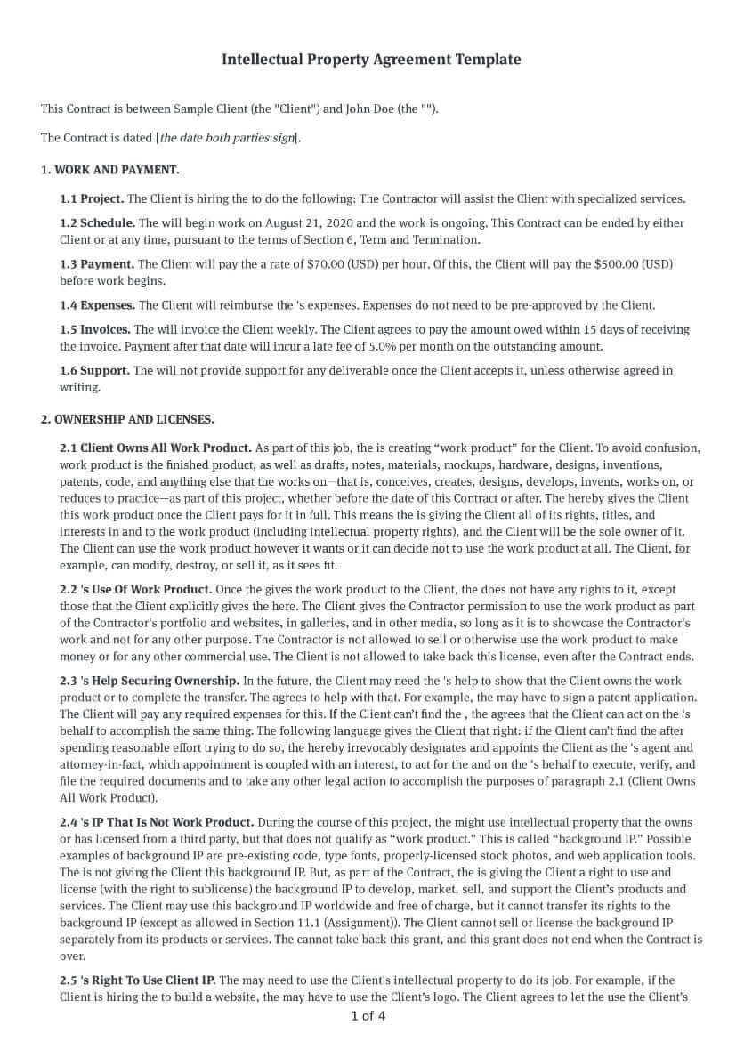 Intellectual Property Agreement Template