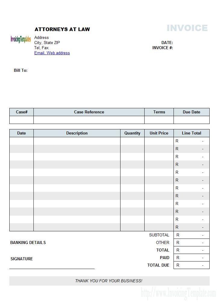 Attorney Invoice Template Sample