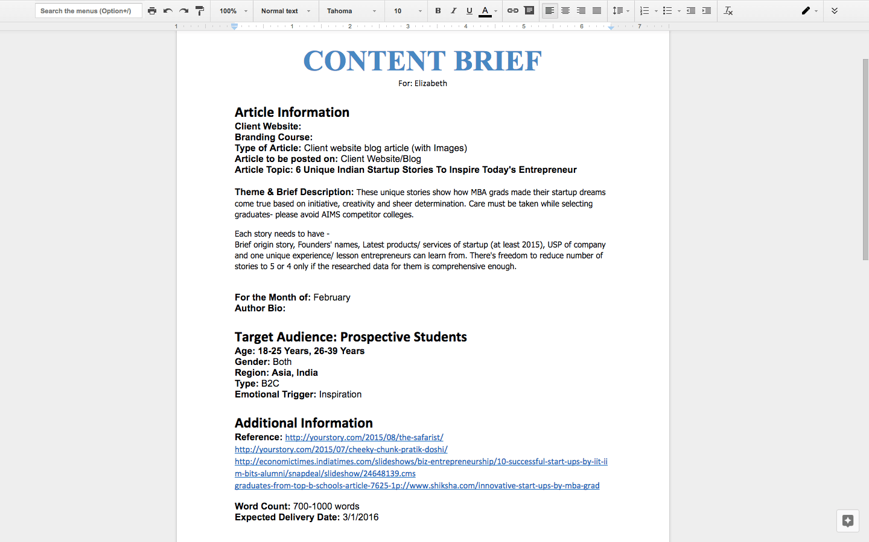 Content Brief Template