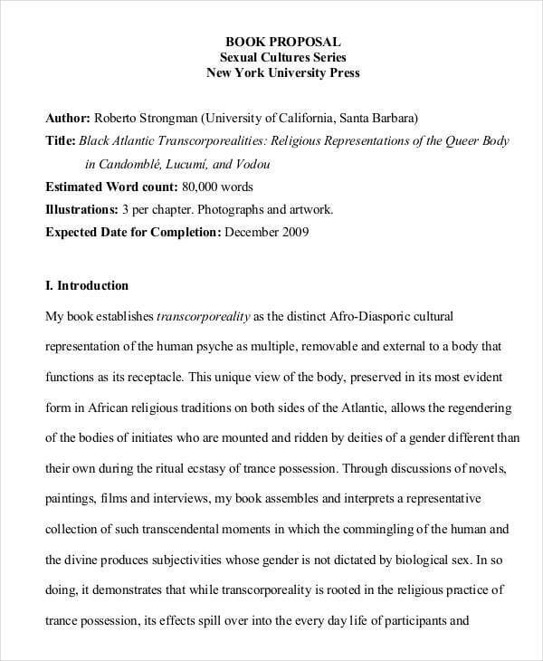 Book Proposal Template Sample