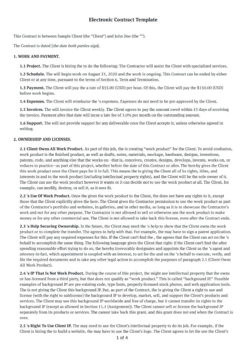 Electronic Contract Template