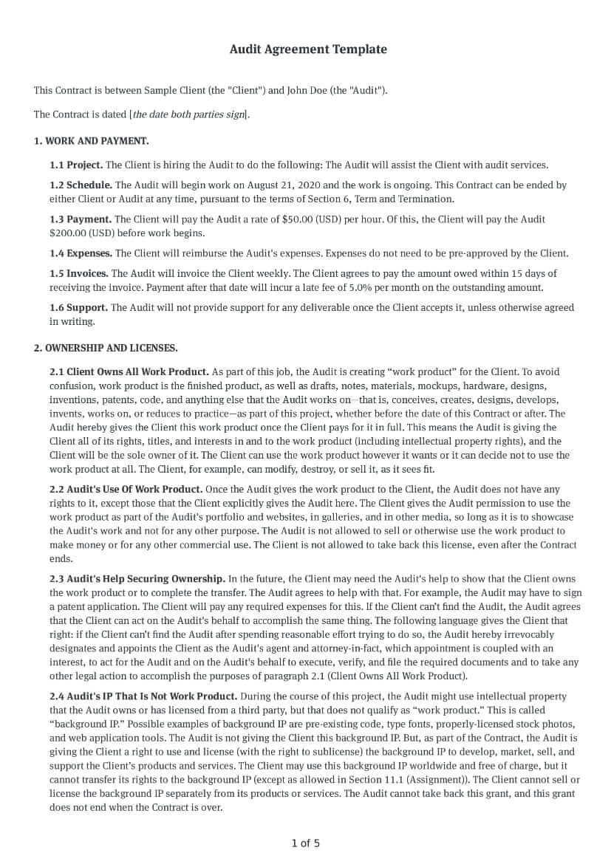 Audit Agreement Template