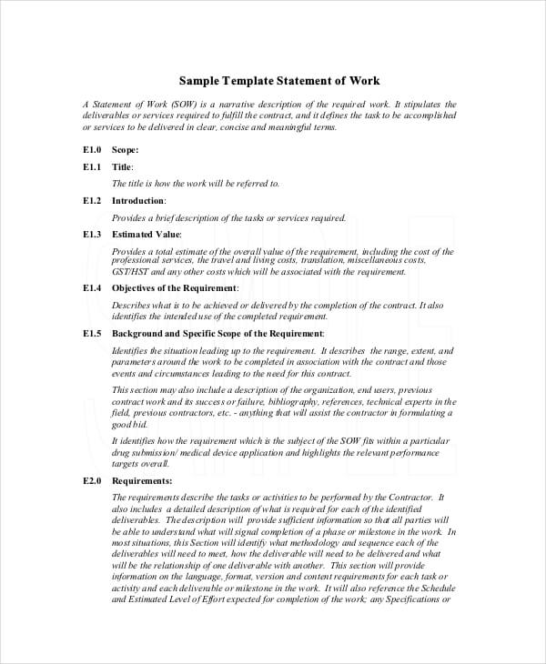 Statement of Work Contract Template