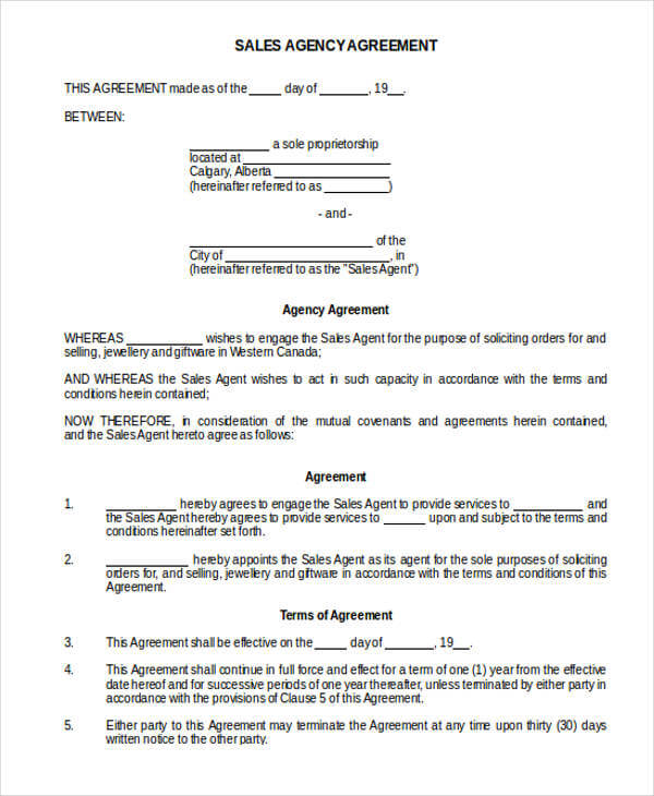 Sales Agency Agreement Template Sample