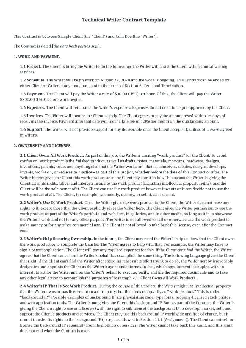 Technical Writer Contract Template