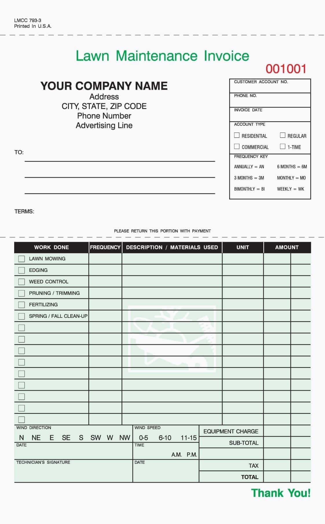 Gardening Invoice Template Sample
