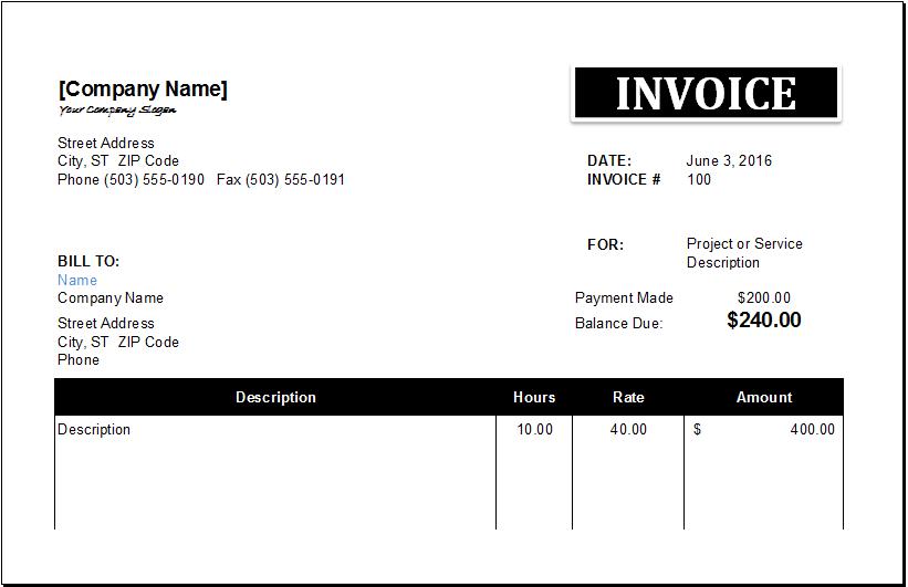 Retainer Invoice Template