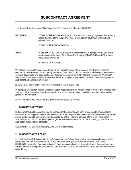 Subcontractor Contract Template Sample