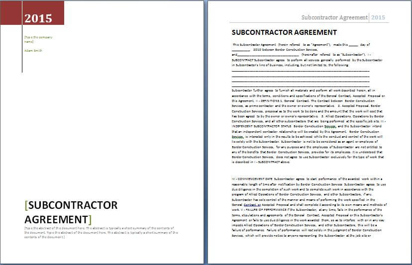 Subcontractor Contract Template Example