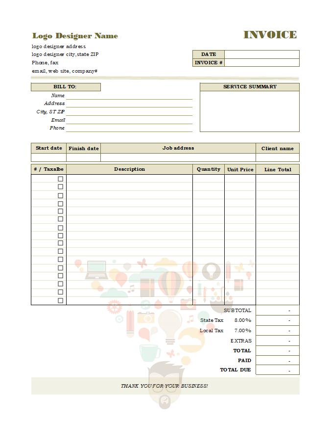 Logo Design Invoice Template Sample