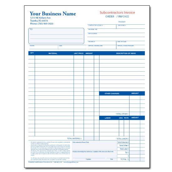 Subcontractor Invoice Template