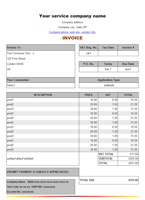 Services Rendered Invoice Template Sample