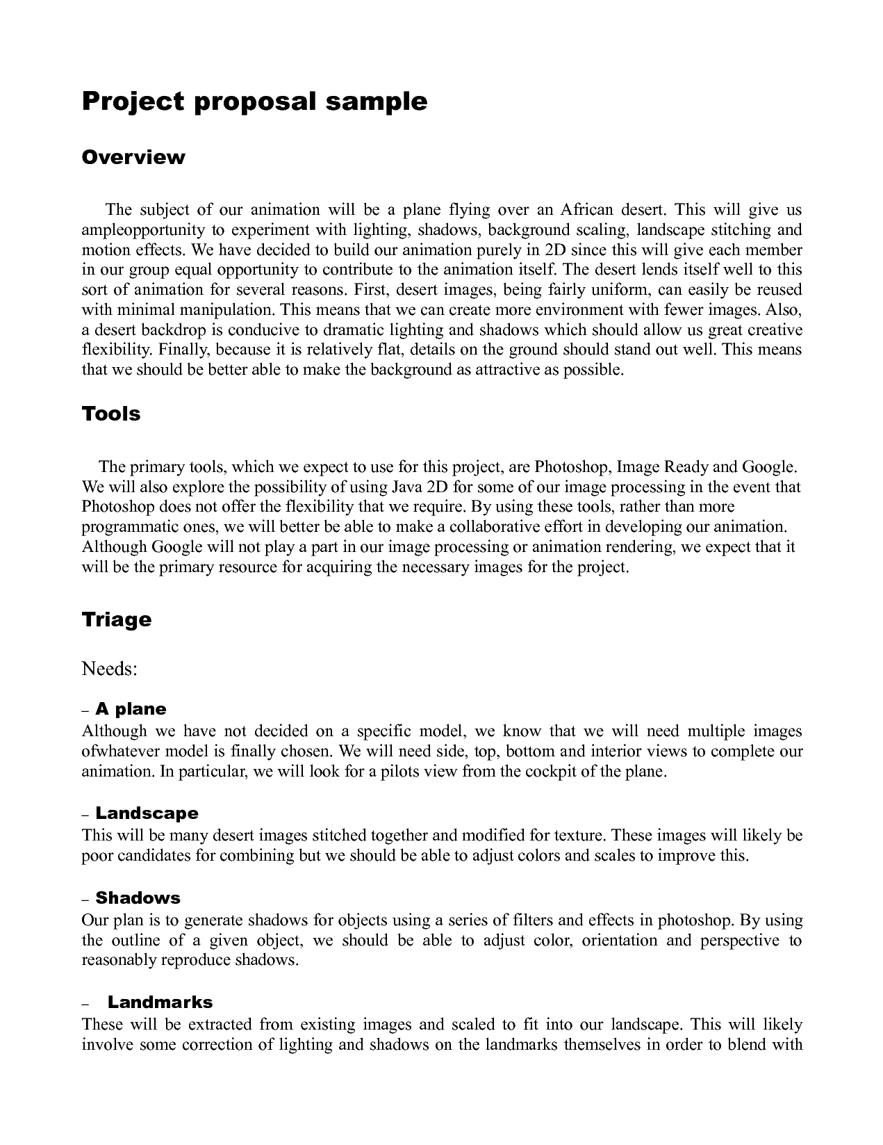 Simple Proposal Template Example