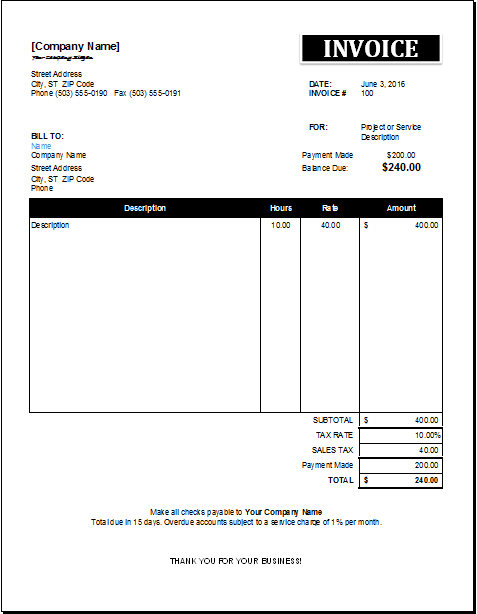 Recurring Invoice Template Sample