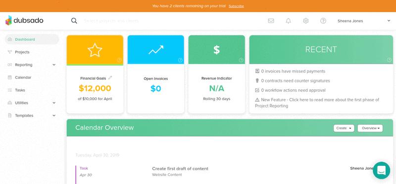 Dubsado dashboard and user homepage.