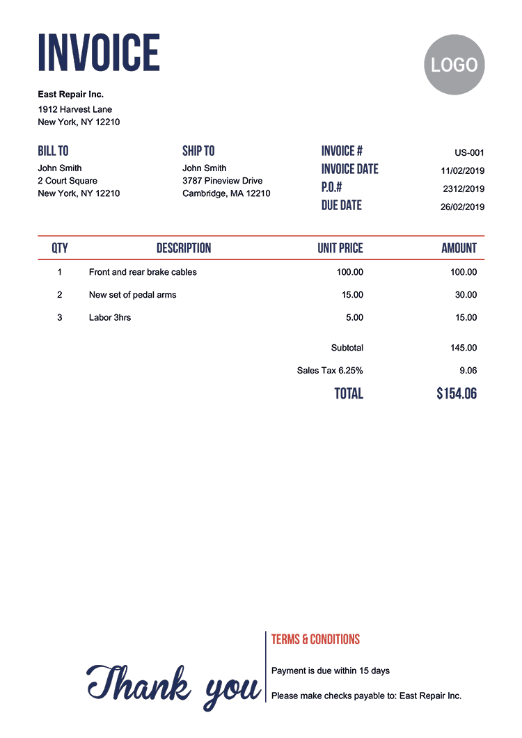 Electronic Invoice Template