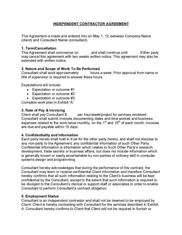 Independent Contractor Consultant Agreement Template Sample