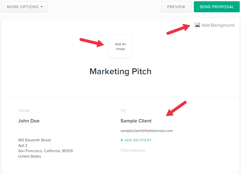 fill in marketing pitch details