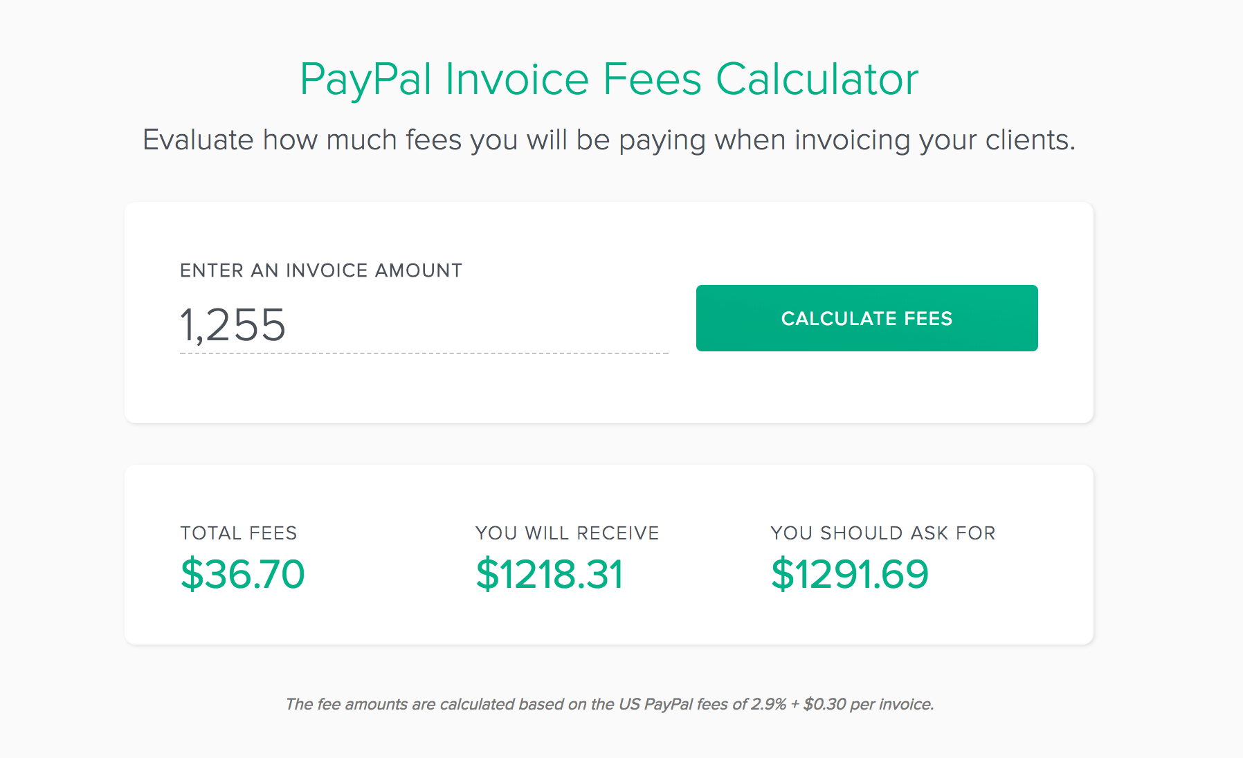 PauPal Invoice Fees Calculator