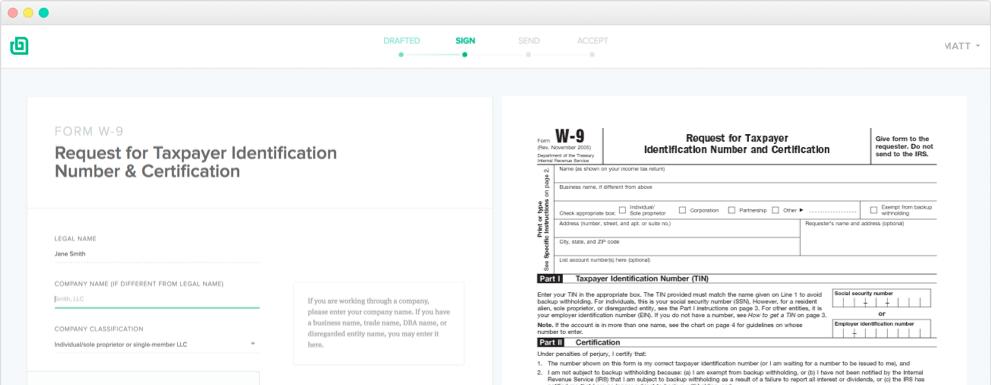 Sample W-9 Tax Form
