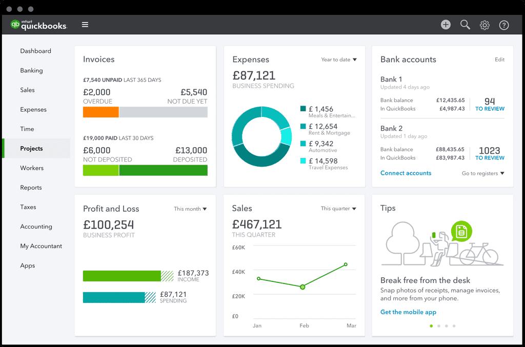 QuickBooks dashboard
