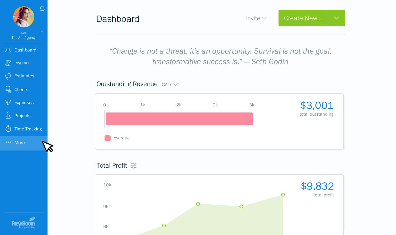 FreshBooks dashboard