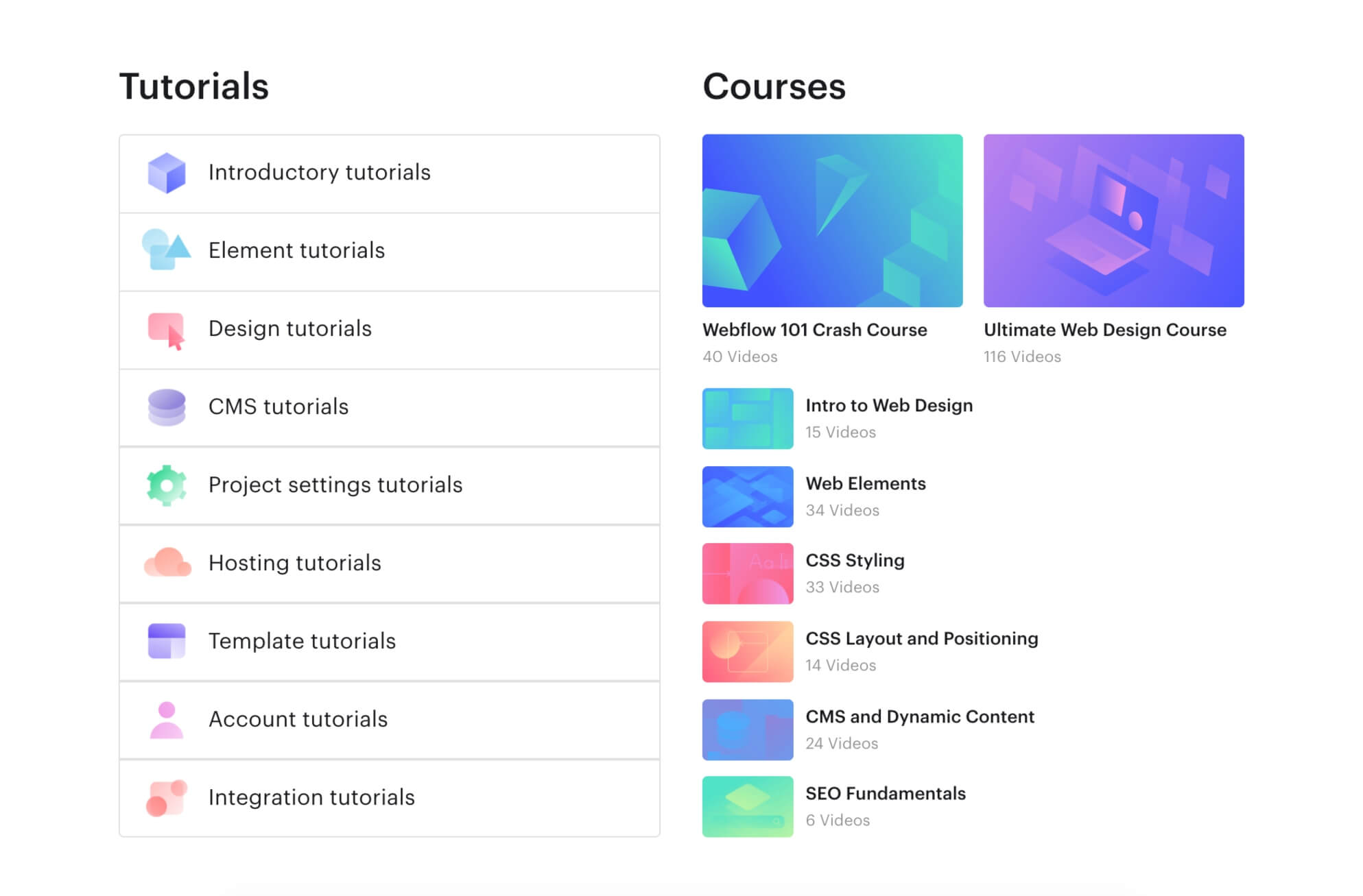 Webflow tutorials and courses