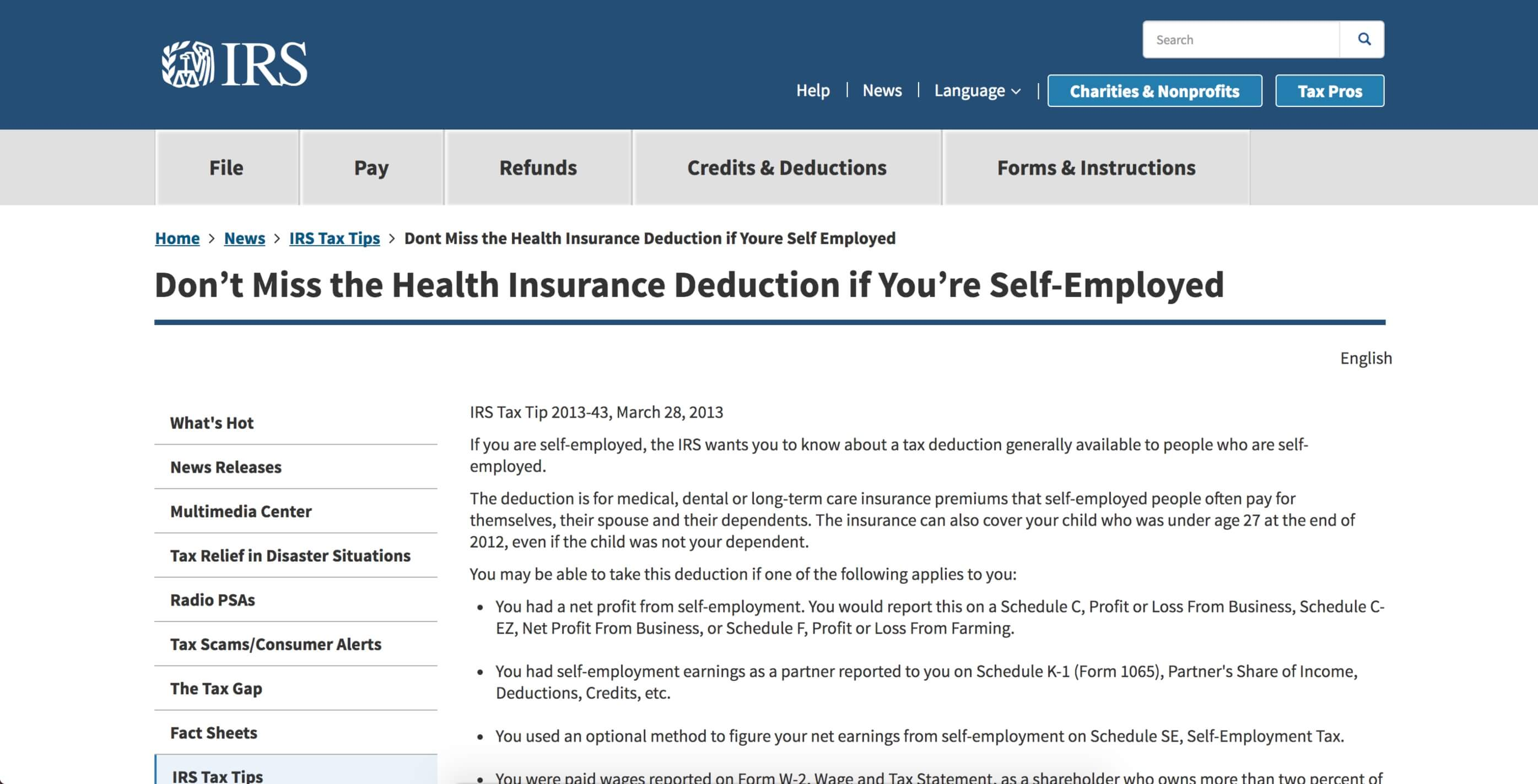 IRS tax tip for health insurance deduction