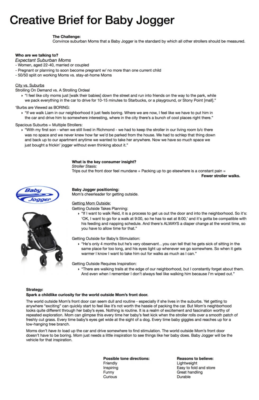 creative brief for baby jogger