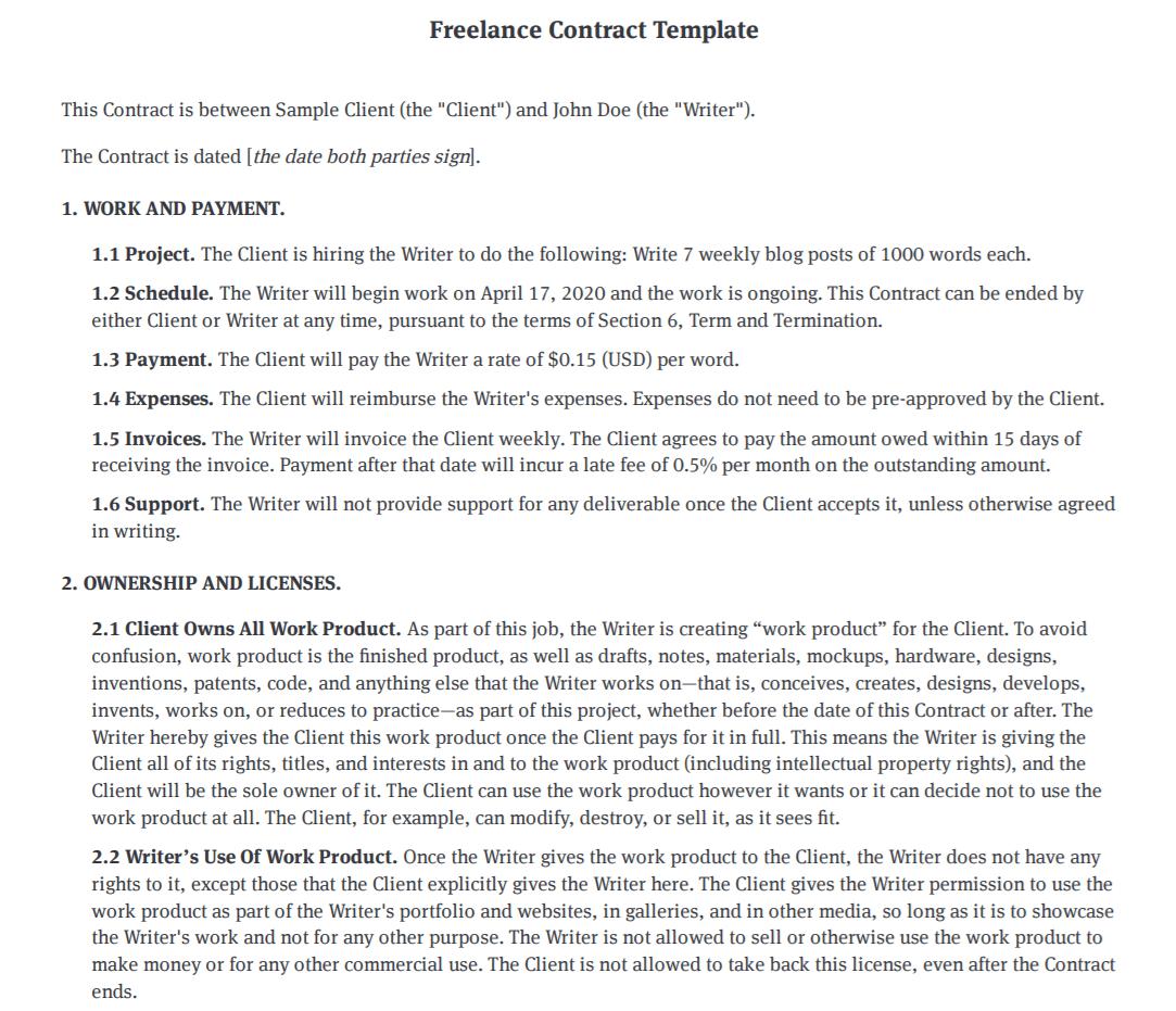 Bonsai freelance contract template