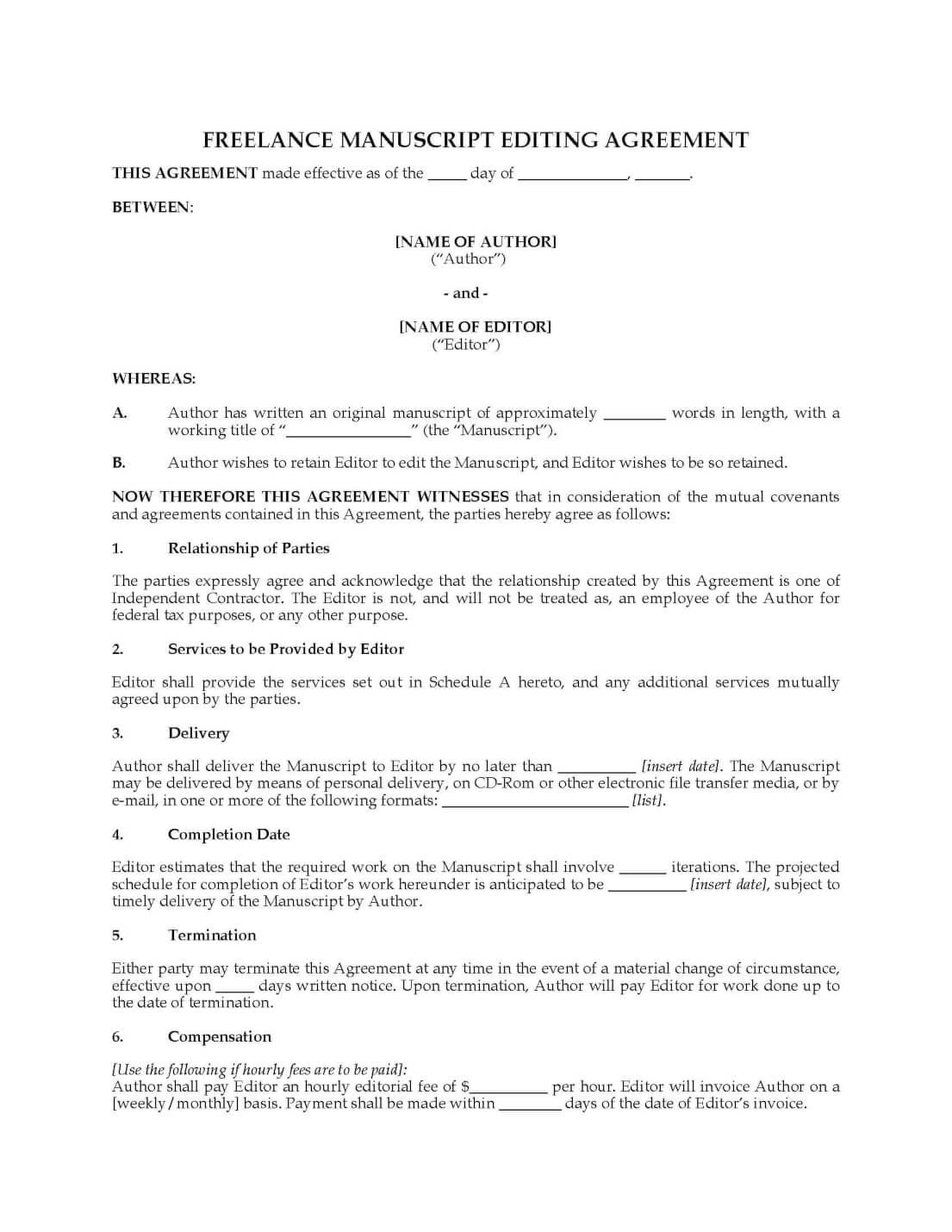 Freelance manuscript editing agreement