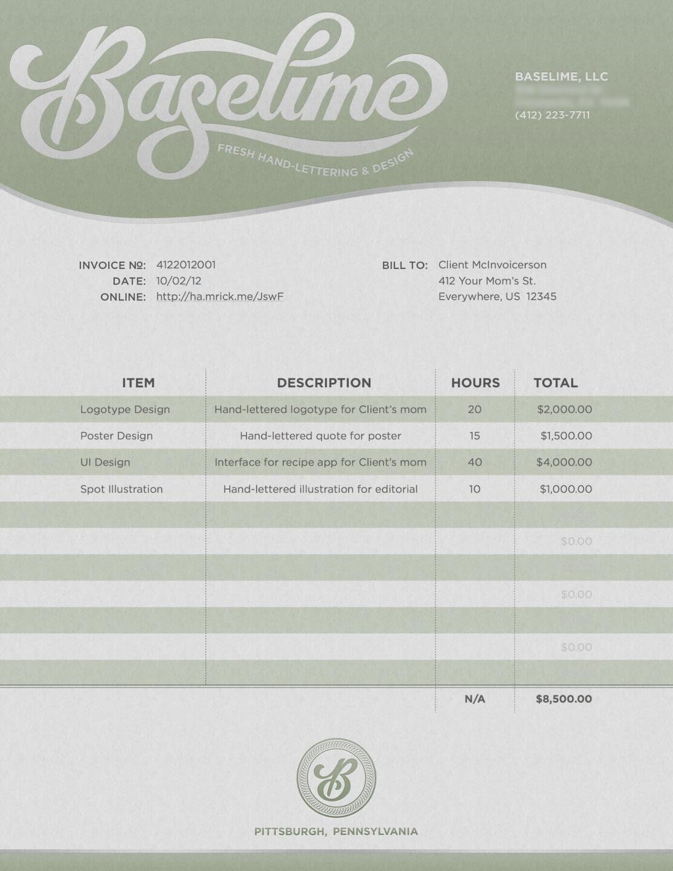 baselime graphic design invoice template