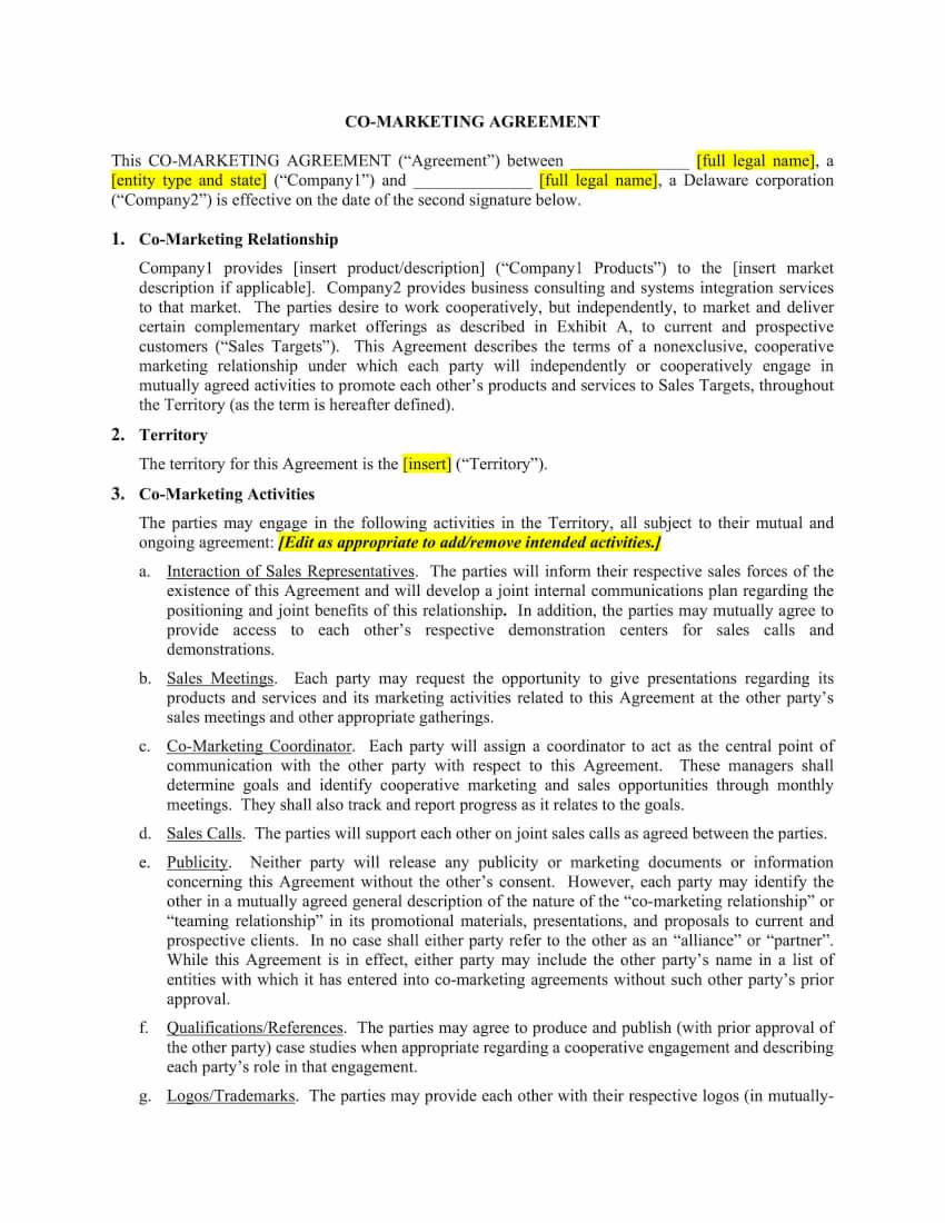 co-marketing agreement template