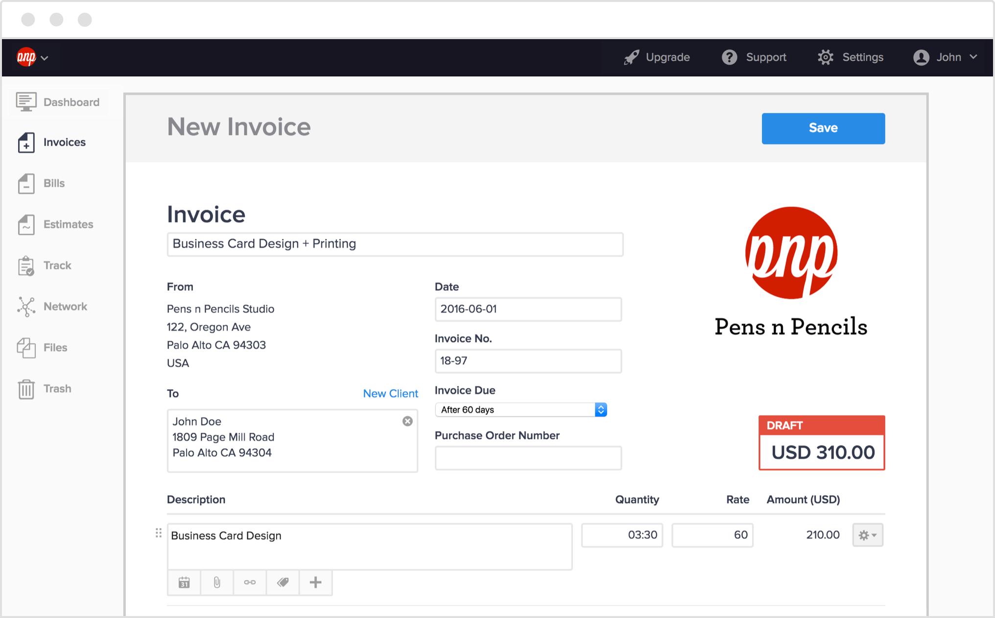 online invoice maker sample