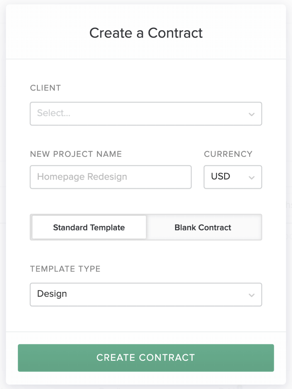 Contract template selection