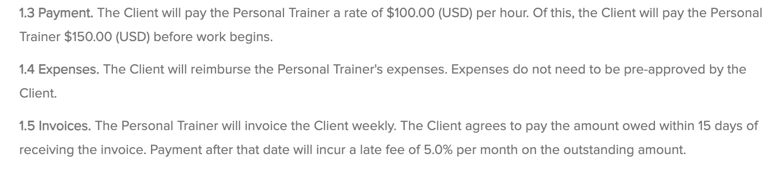sample payment details in personal trainer contract
