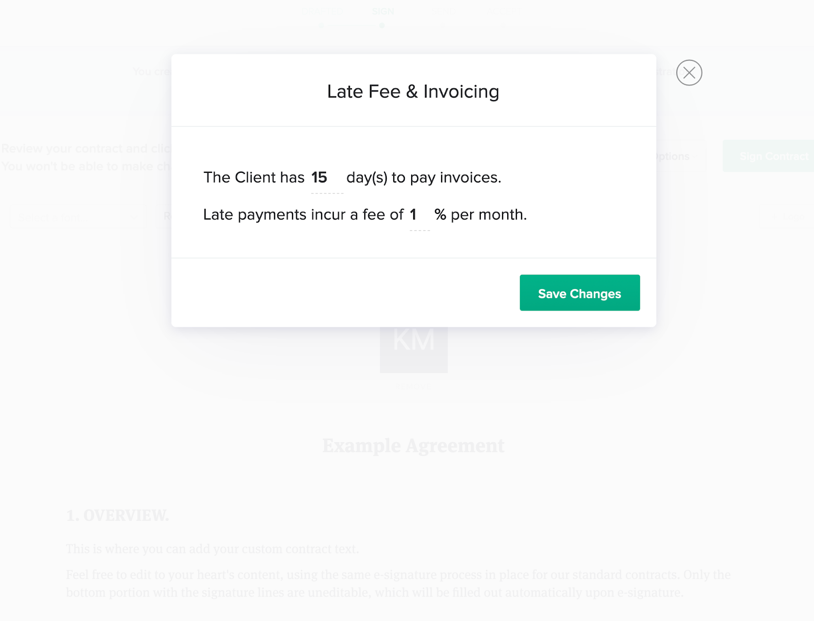 add your late payment fee details when creating your personal trainer agreement