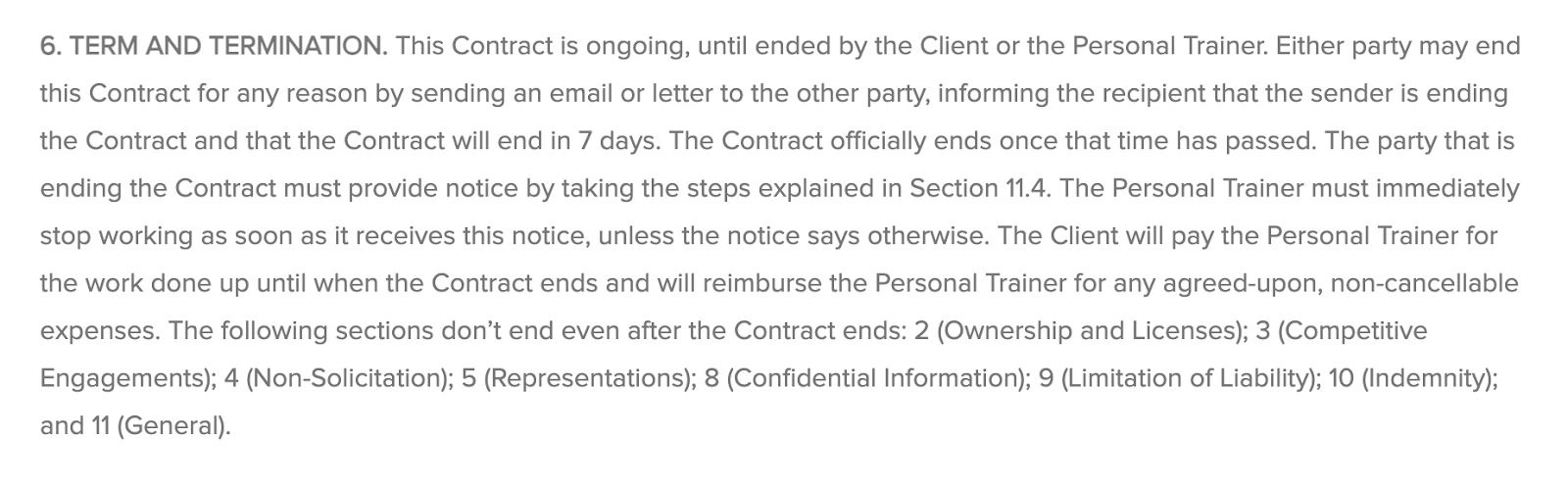 termination clause sample for personal trainer contract