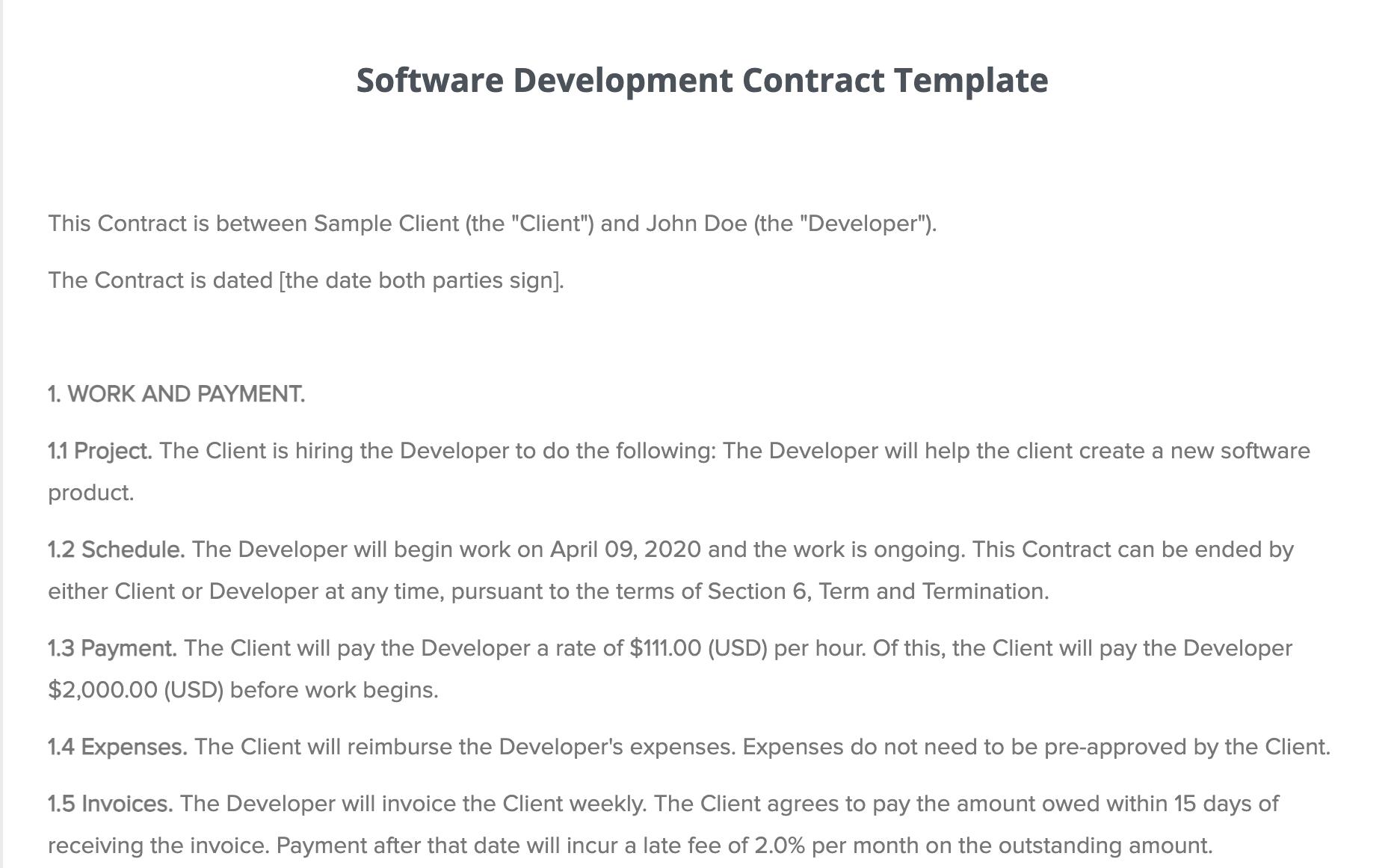 Software development contract covers developer's duties